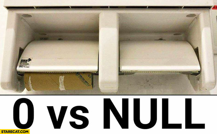 0 vs null explained using a toilet paper roll programming