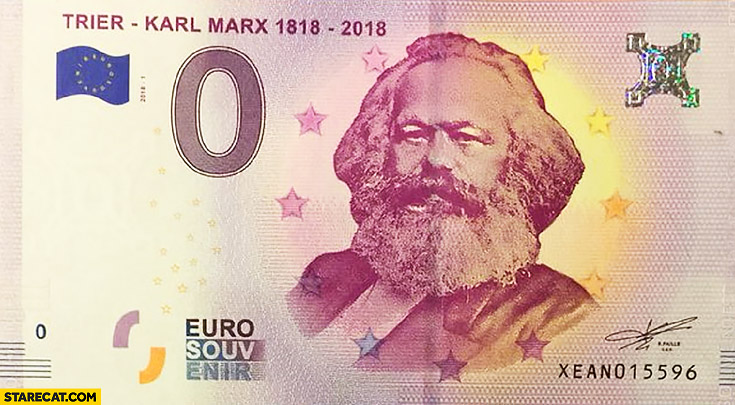 0 zero Euro bank note Karl Marx communist