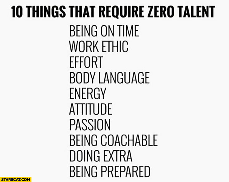 10 things that require zero talent: being on time, work ethic, effort, body language, energy, attitude, passion, being coachable, doing extra, being prepared