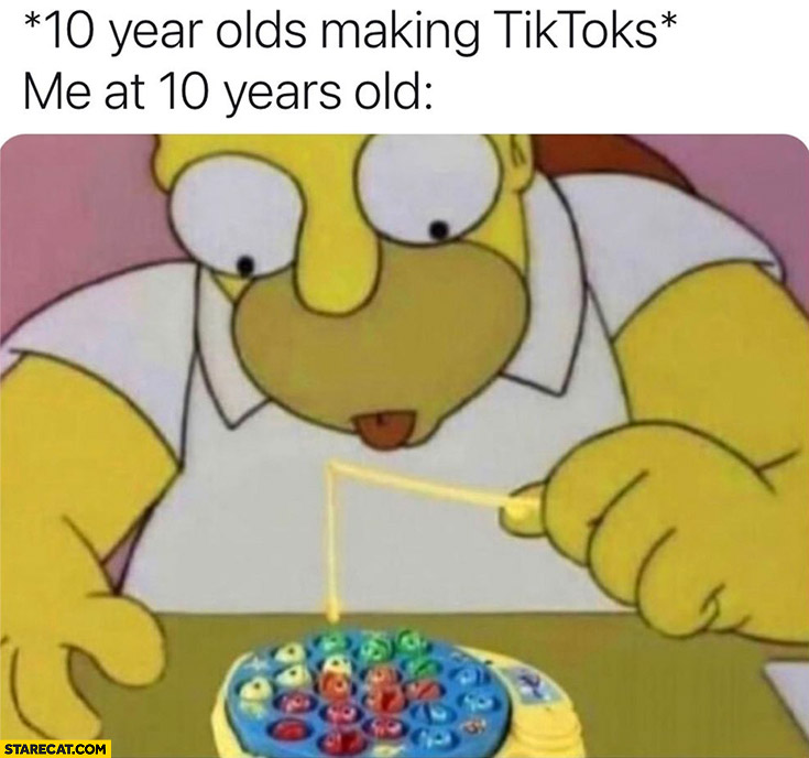 10 year olds making Tiktoks vs me at 10 years old Homer Simpson fishing game