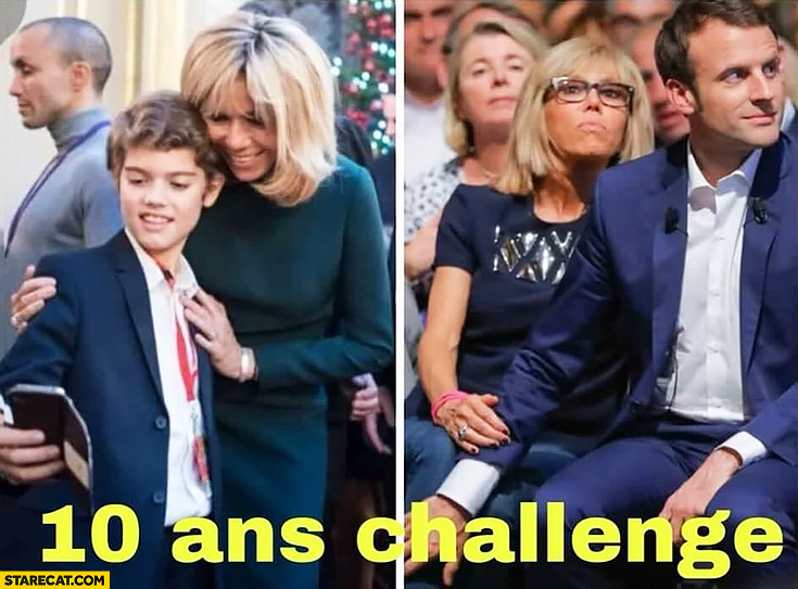 10 years challenge Macron wife as a kid and now