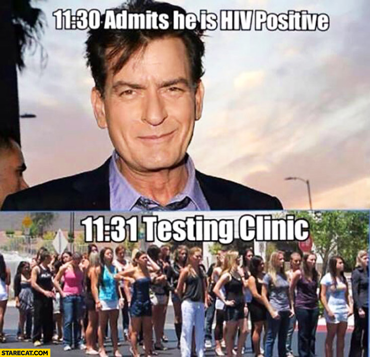 11:30 Charlie Sheen admits he is HIV positive, 11:31 testing clinic queue full of women