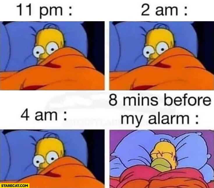 11 pm, 2 am, 4 am can't sleep, 8 mins before my alarm sleeping Homer Simpson