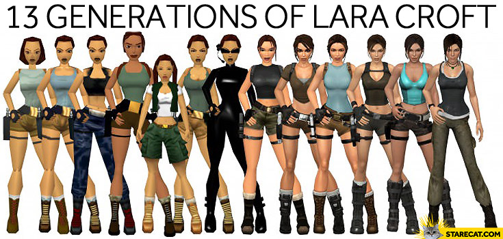 13 generations of Lara Croft