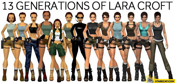 13 generations of Lara Croft