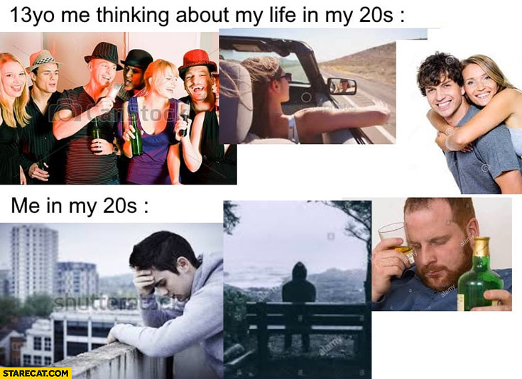 13 yo me thinking about my life in my 20s vs me in my 20s depressed