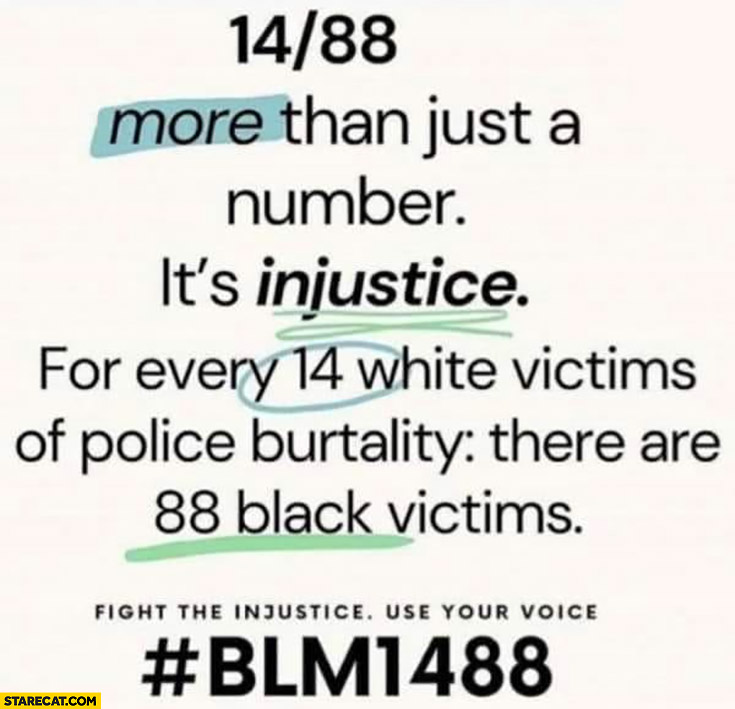 14/88 for every 14 white victims of police brutality there are 88 black victims #blm1488 hashtag