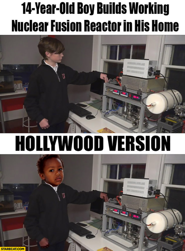 14-year-old boy builds working nuclear fusion reactor in his home vs hollywood version black kid