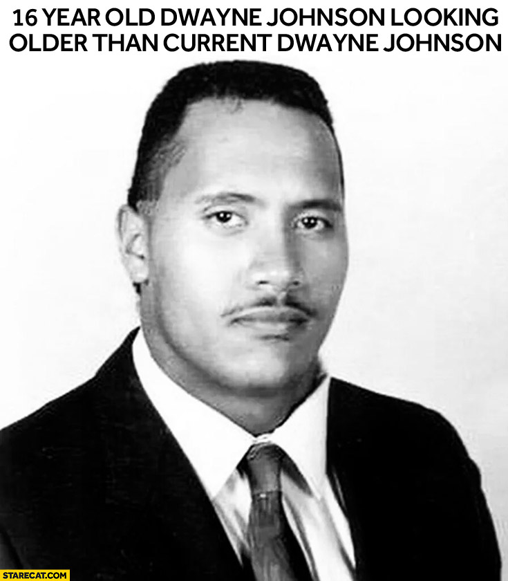 16 year old Dwayne Johnson looking older than current Dwayne Johnson