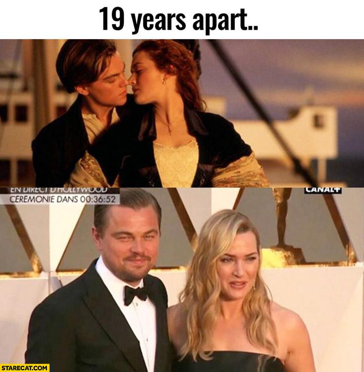19 years apart Leonardo DiCaprio, Kate Winslet Titanic Oscars ceremony