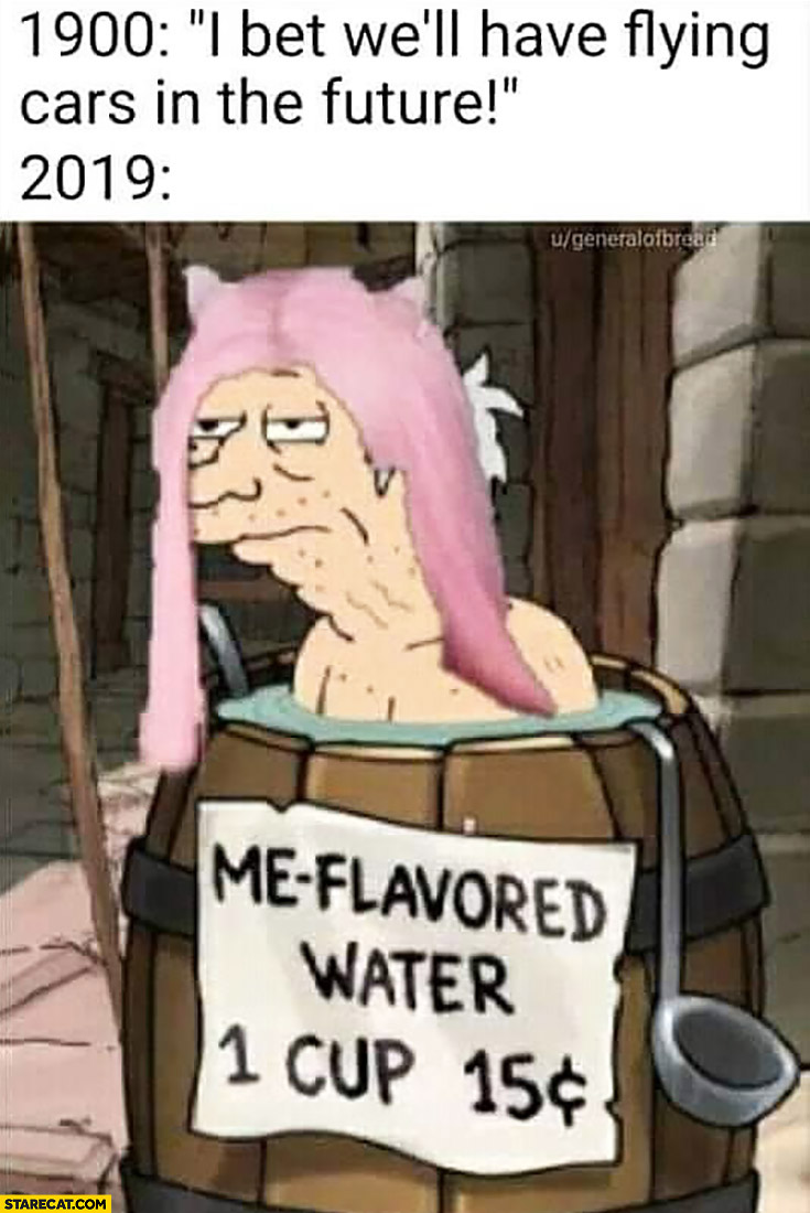 1900: I bet well have flying cars in the future, 2019: me flavored water 1 cup 15 cents Belle Delphine