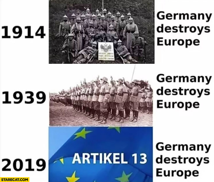 1914 1939 Germany destroys Europe 2019 ACTA 2 article 13 Germany destroys Europe again