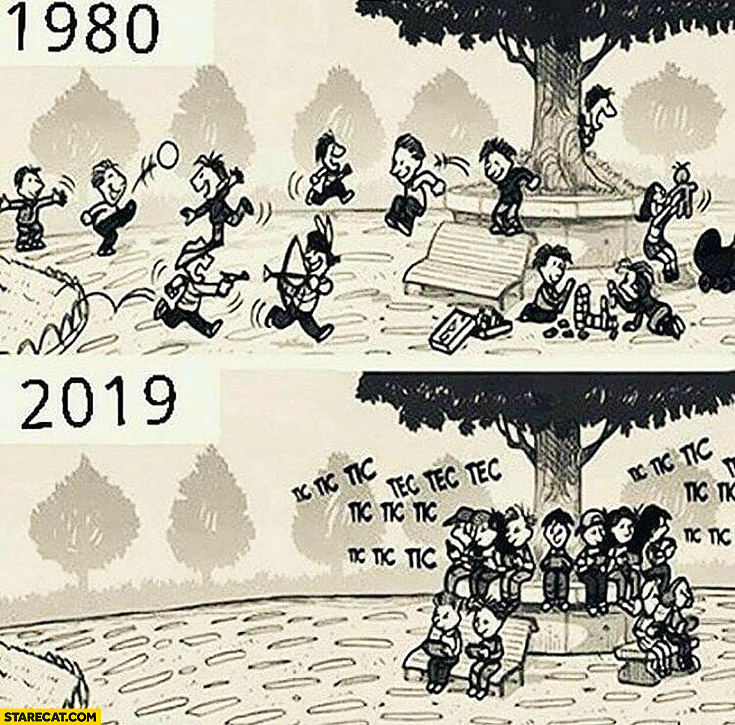 1980 kids playing vs 2019 all kids using smartphones