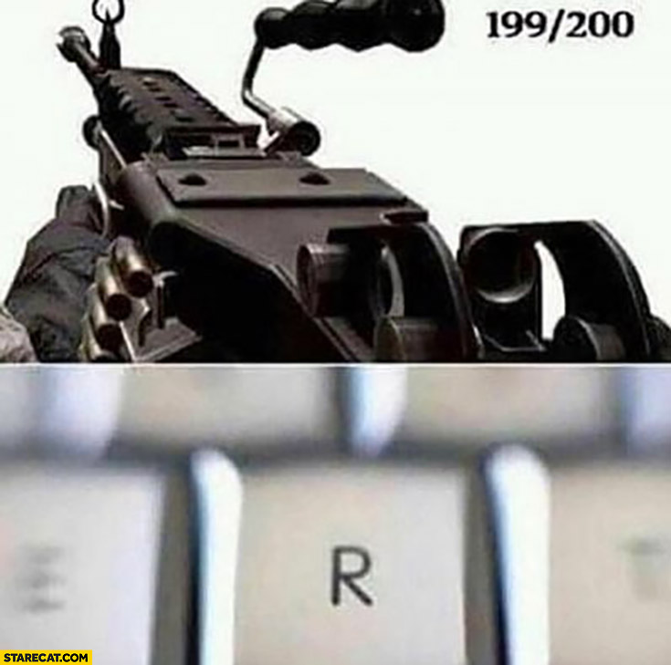 199 bullets left out of 200 hits R button to reload