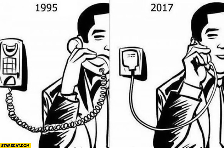 1995 compared to 2017 phone attached to wall by a charger cord