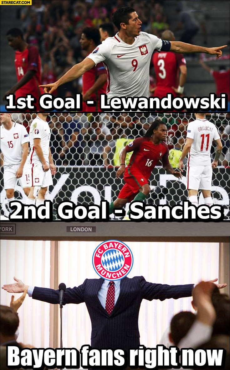 1st goal – Lewandowski, 2nd goal – Sanches. Bayern fans right now like a boss. Poland Portugal Euro match