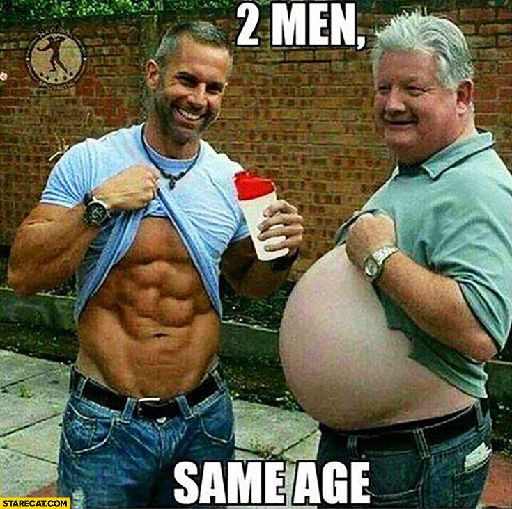 2 men same age one ripped, the other fat