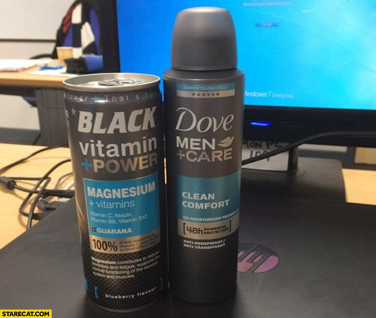 2 products packaging made from same template black energy drink and dove men care