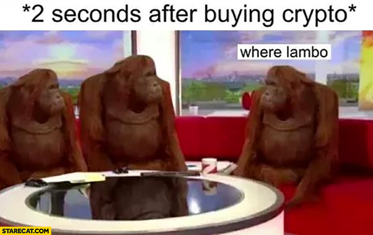 2 seconds after buying crypto, where Lambo?