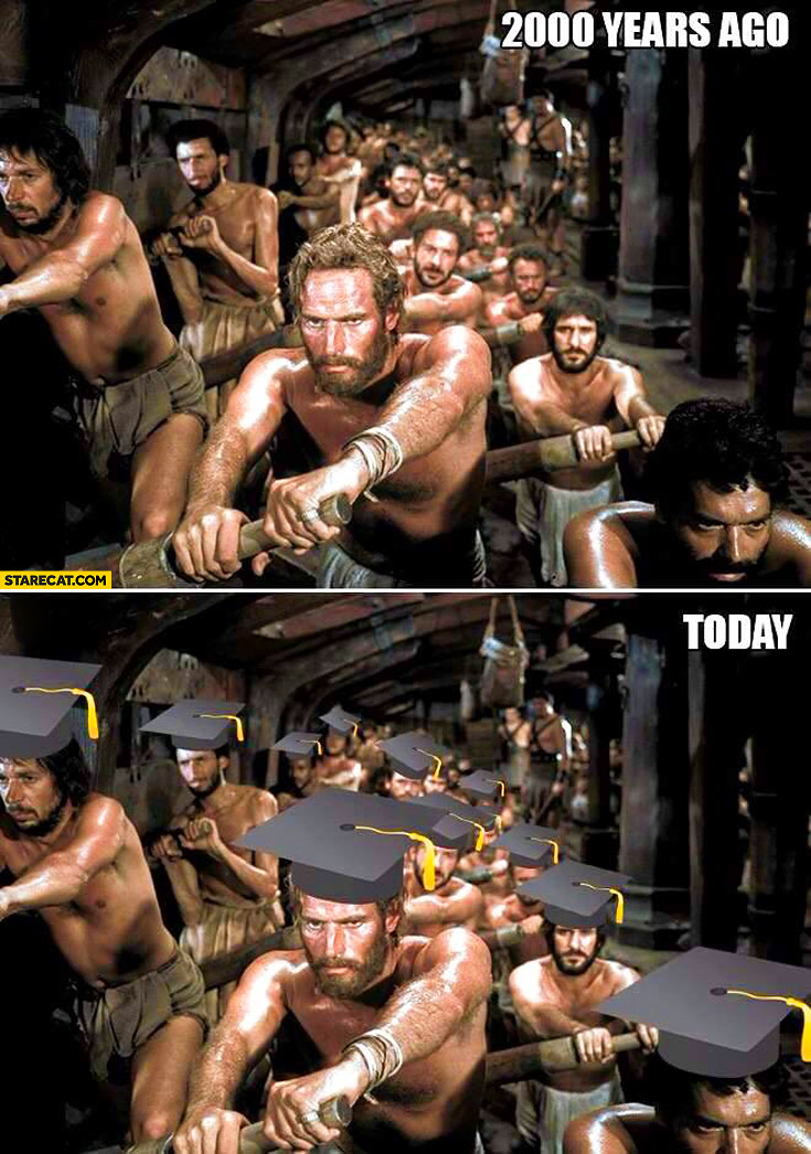 2000 years ago today slaves after graduation