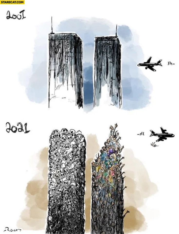 2001 WTC 2021 Afghanistan towers airplane drawing comparison