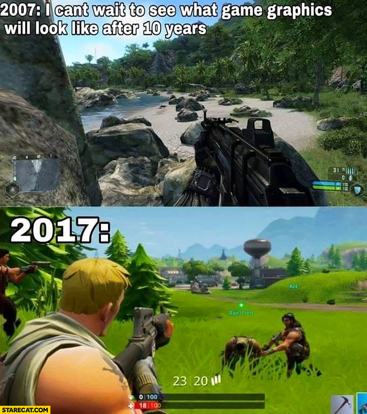 2007: I can't wait to see what game graphics will look like after 10 years 2017 comparison fail