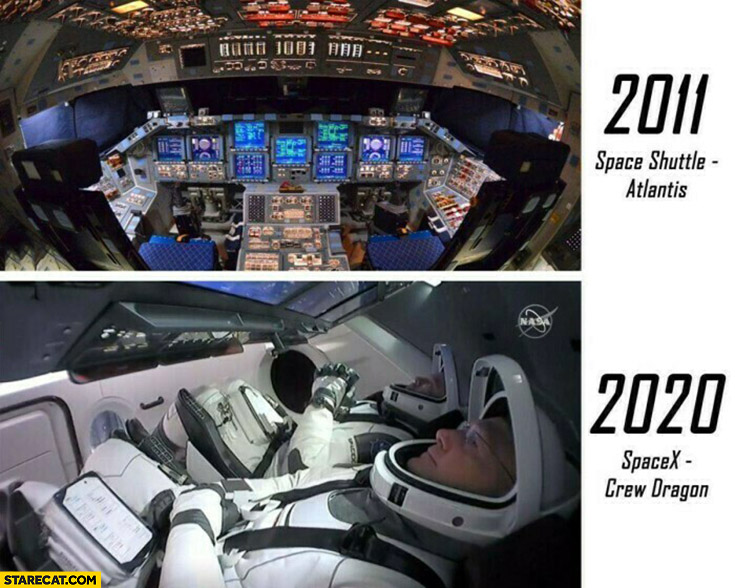2011 Space shuttle Atlantis 2020 spacex crew dragon inside interior comparison