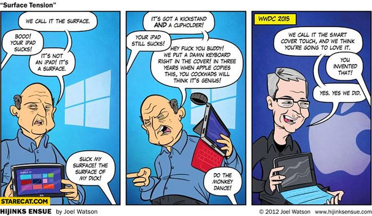 2012 comics Apple introduces smart cover in WWDC 2015 ripped from Microsoft