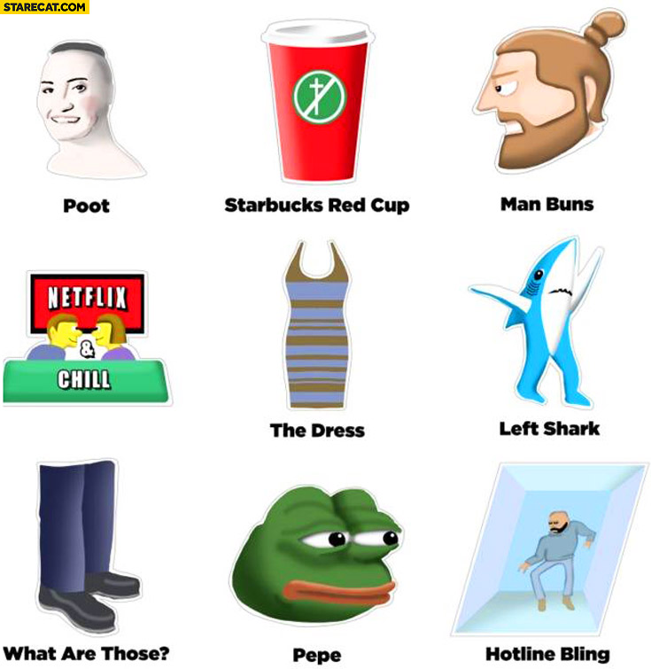 2015 summary: Pepe, the Dress, man buns, Starbucks red cup, Poot, hotline bling, left shark