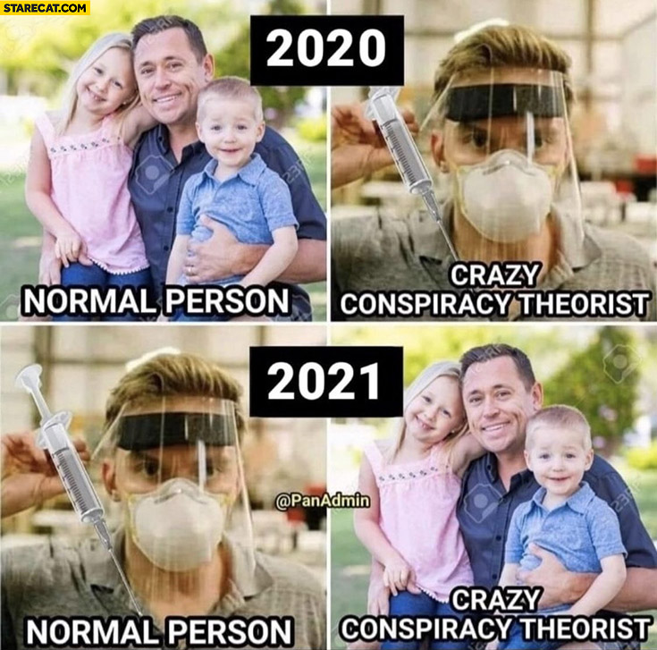 2020 vs 2021 covid coronavirus normal person vs crazy conspiracy theorist comparison