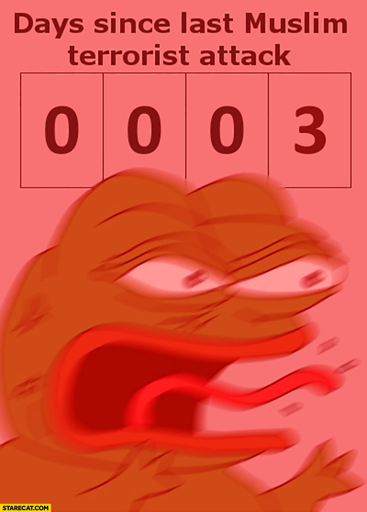3 days since last muslim terrorist attack angry mad furious pepe the frog 0003