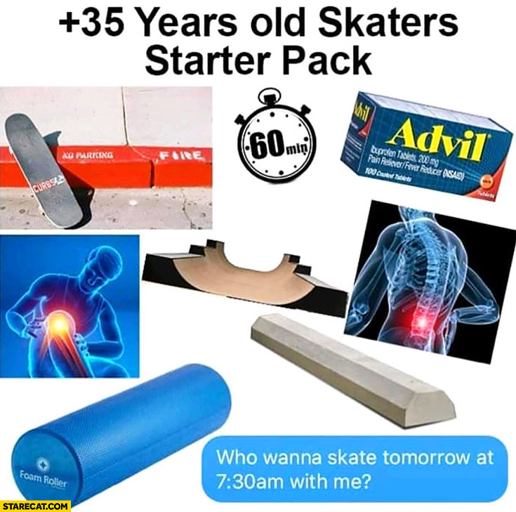 35+ plus years old skaters starter pack pain meme