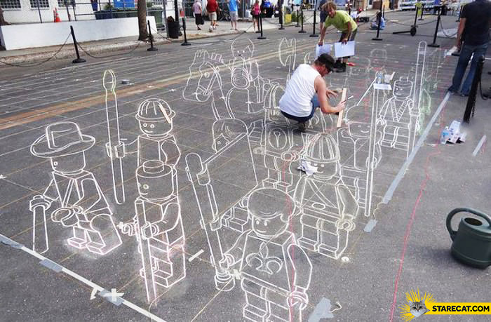 3D LEGO characters on a street