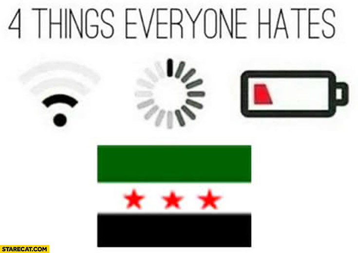 4 things everyone hate: Syria, loading, low battery, poor wifi