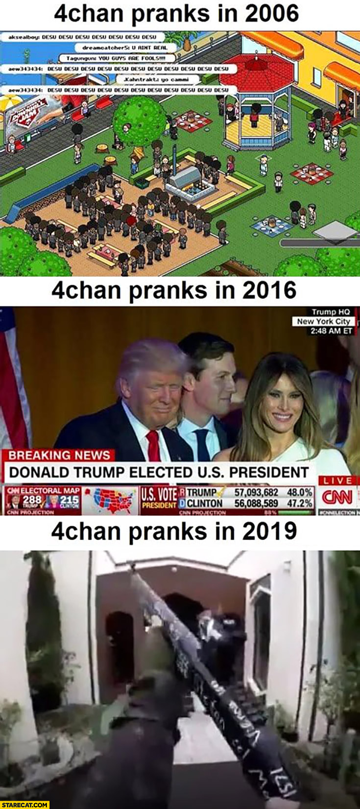 4chan pranks in 2006, 2016, 2019 New Zeland Christchurch terrorist attack shooting