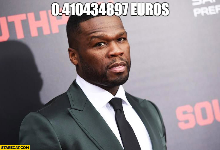 50 Cent in euros 0 410 in euro currency