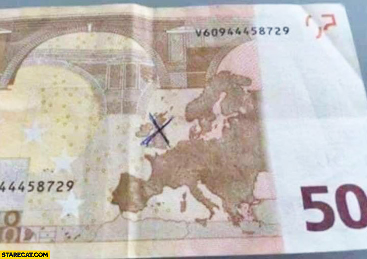 50 EUR banknote Great Britain crossed out after Brexit leaving the EU update correction