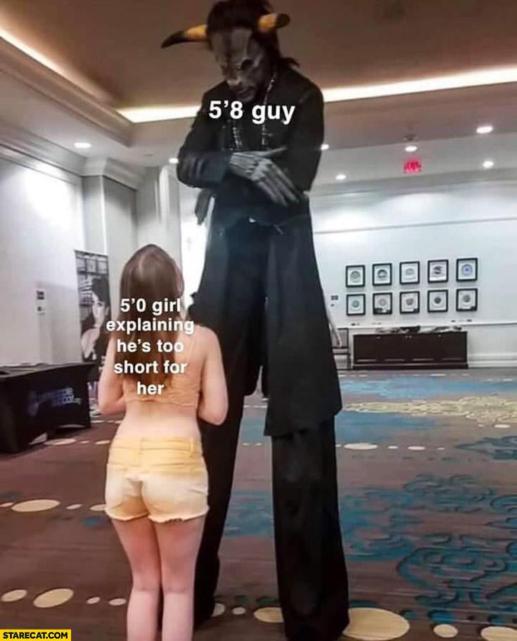 5″8 guy vs 5″0 girl explaining he's too short for her