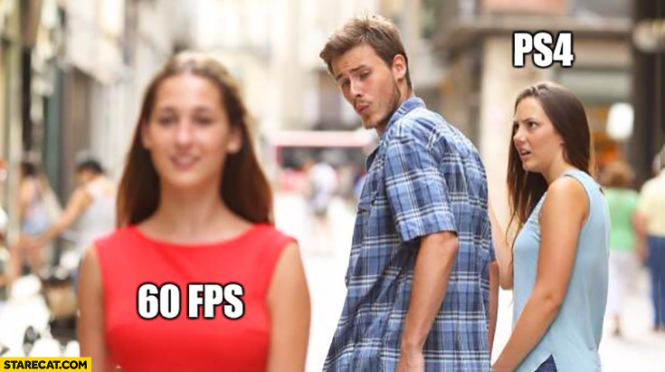 60 fps, me, PS4 boyfriend red dress jelaous girlfriend meme