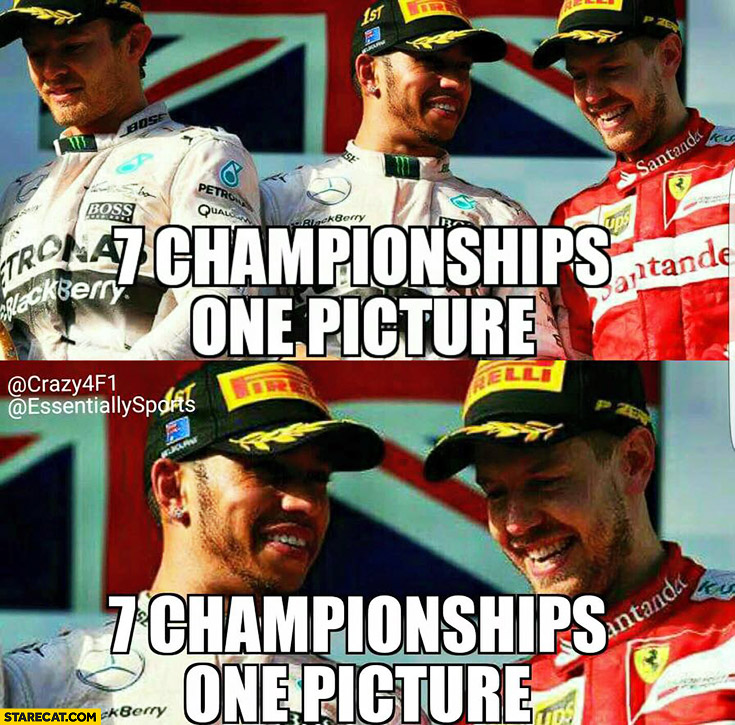 7 championships one picture formula one trolling