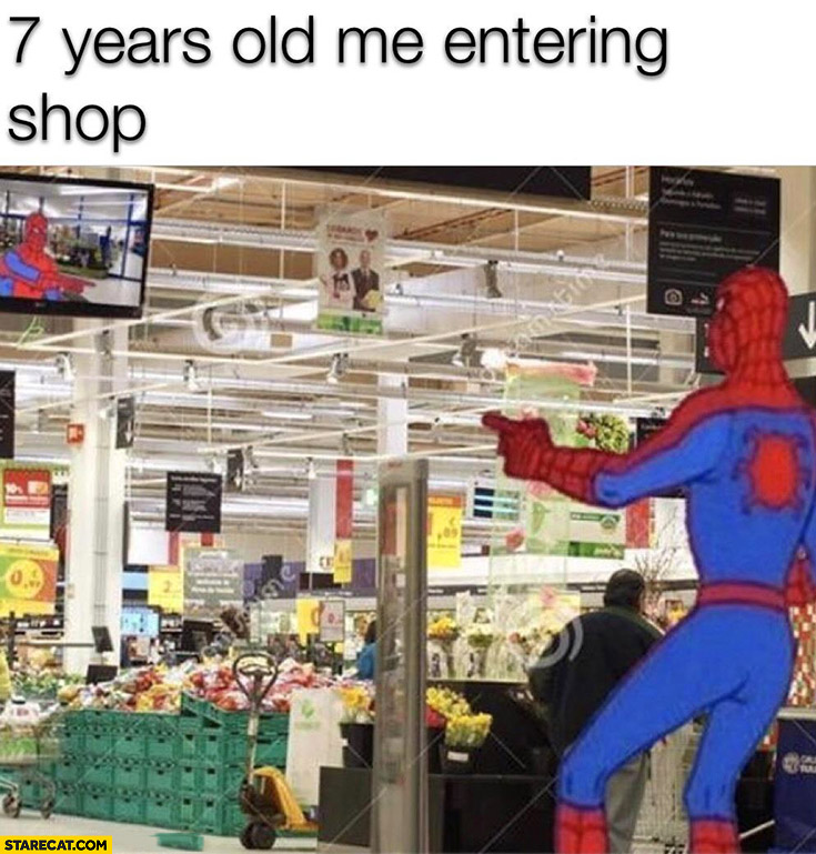 7 years old me entering shop Spiderman sees himself on a security camera