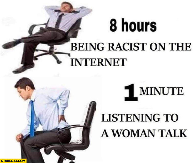 8 hours being racist on the internet vs 1 minute listening to talk a woman talk