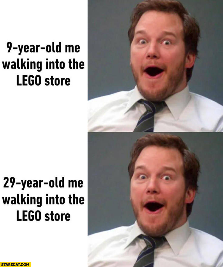 9-year old me walking into the Lego store vs 29-year old me same reaction