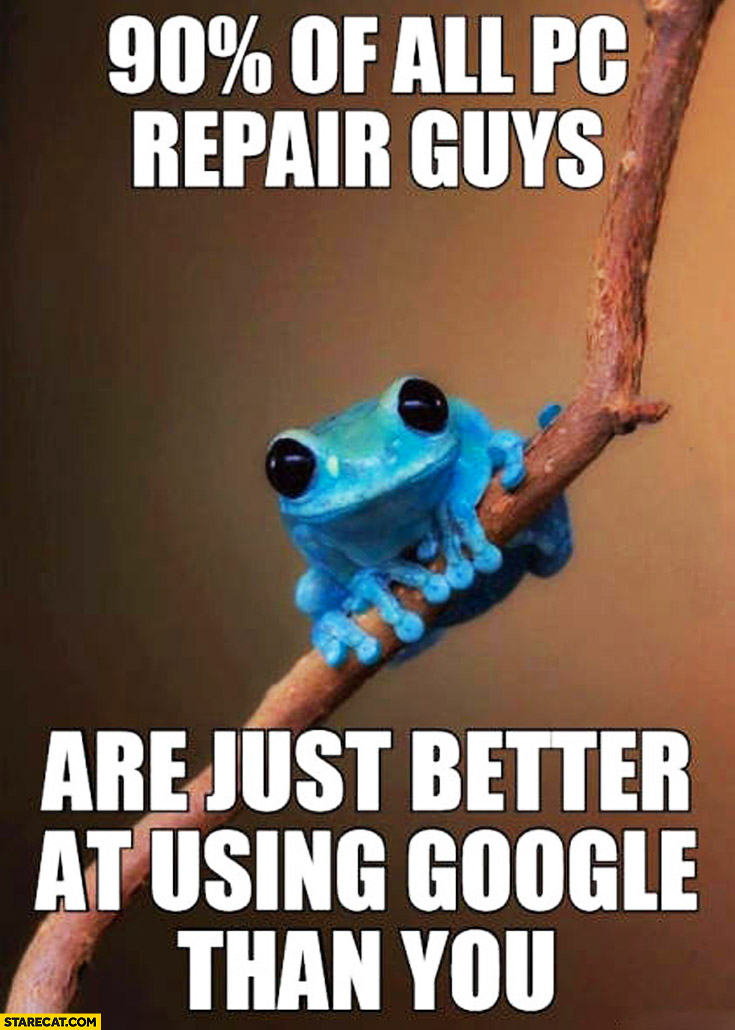 90% percent of all PC repair guys are just better at using Google than you