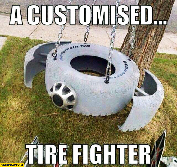 A customised tire fighter tie fighter made of tire
