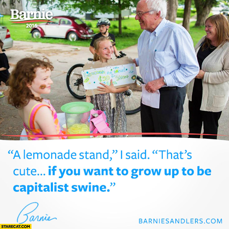 "A lemonade stand, I said: ""that's cute if you want to grow up to be capitalist swine"" Bernie Sanders"
