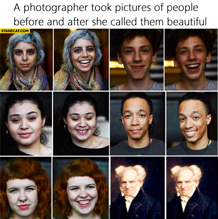 A photographer took pictures of people before and after she called them beautiful