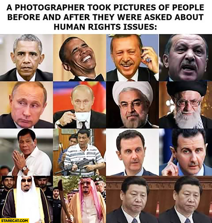 A photographer took pictures of people before and after they were asked about human rights issues Obama Putin Erdogan Assad