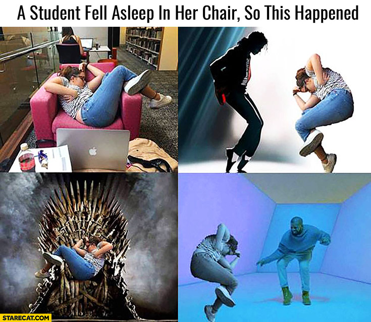 A student fell asleep in her chair so this happened photoshopped