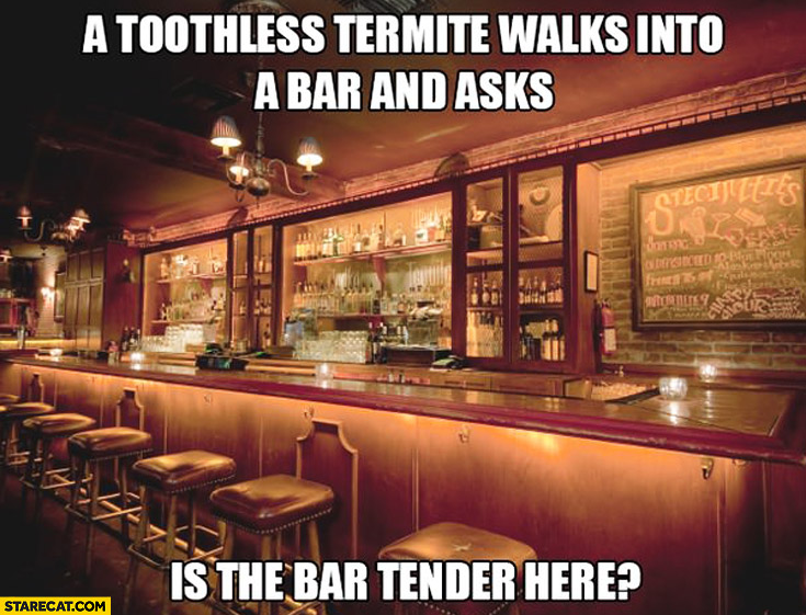 A toothless termite walks into a bar and asks: is the bar tender here?